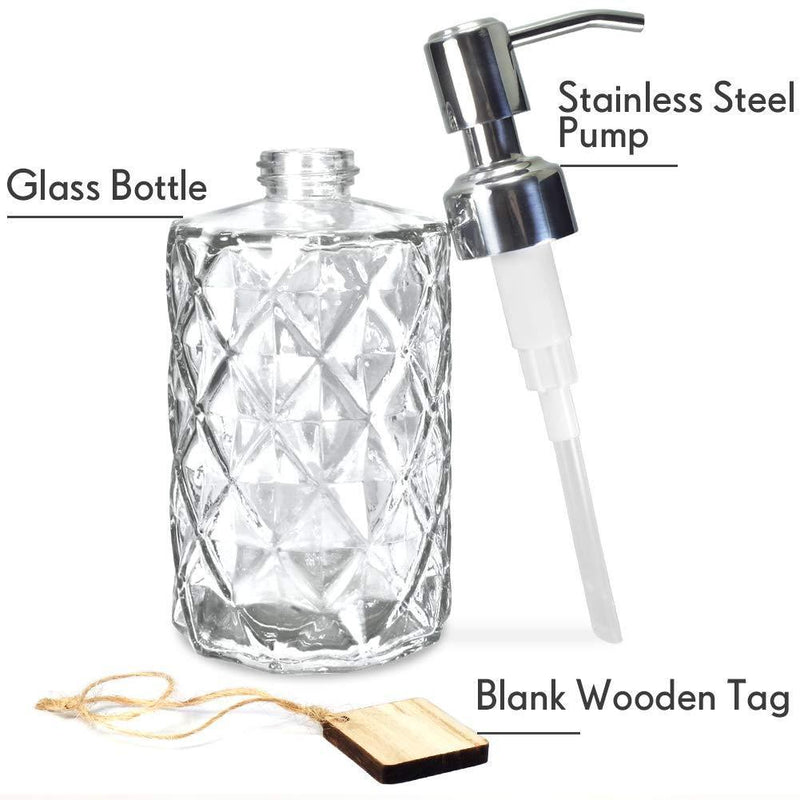 JASAI Diamond Design 12 Oz Clear Glass Soap Dispenser, Kitchen Soap Dispenser with 304 Rust Proof Stainless Steel Pump, Premium Glass Soap Dispenser for Bath and Bathroom