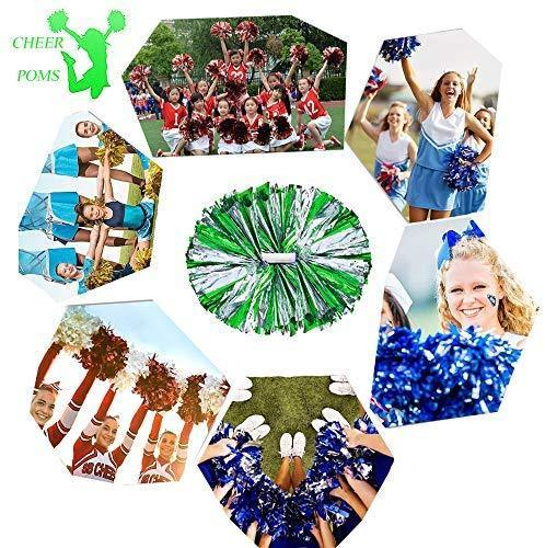 4Pcs Metallic Cheerleading Pom Poms for Kids, Creatiee 2 Pair Cheerleader Cheering Squad Pompoms for Boy Girl School Sports Games Team Spirit Cheer