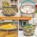 Komfyko Steamer Basket 6 Quart [8qt Available] - Compatible With Instant Pot Accessories 6 qt and Other Pressure Cooker Brands - IP Stainless Steel Insert with Silicone Handle and Feet for InstaPot.
