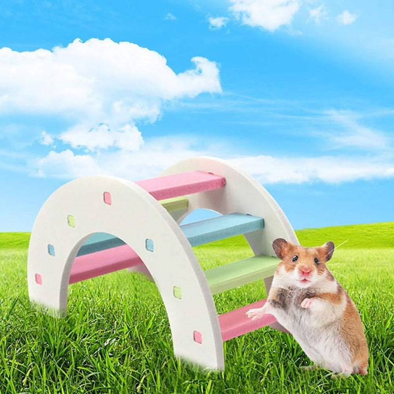 Hamster Ladder Syrian Hamster Bridge Rainbow Rabbit Climb Kit for Small Animal,Habitat Exerise Toy Wooden Habitat Decor