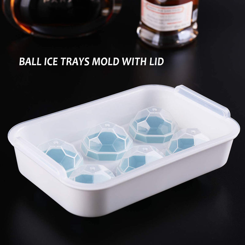 The Whiskey Ball Sphere Ice Cube Ball Mold, 2 Pack Cubes Large Ice Mold Trays Combo for Whiskey and Cocktails,Freezer Keep Drinks Chilled,Reusable & BPA Free