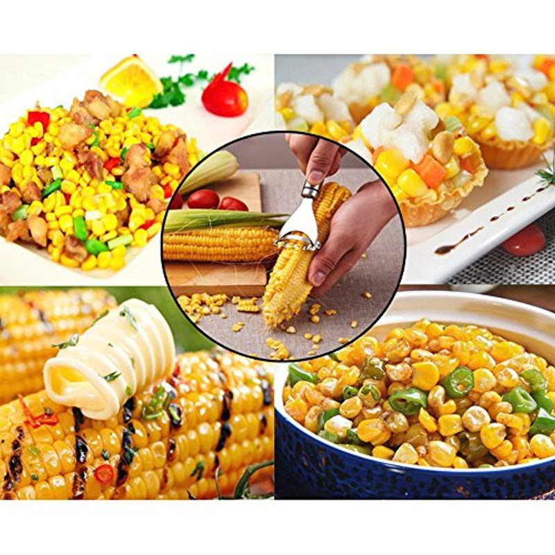LJDJ Corn Stripper Cob Slicer Peeler Thresher Tool Corn Cobber Corn Zipper, Stainless Steel Corn Peeler and Kernel Cutter Kitchen Utensils & Gadgets Kernel Cutter