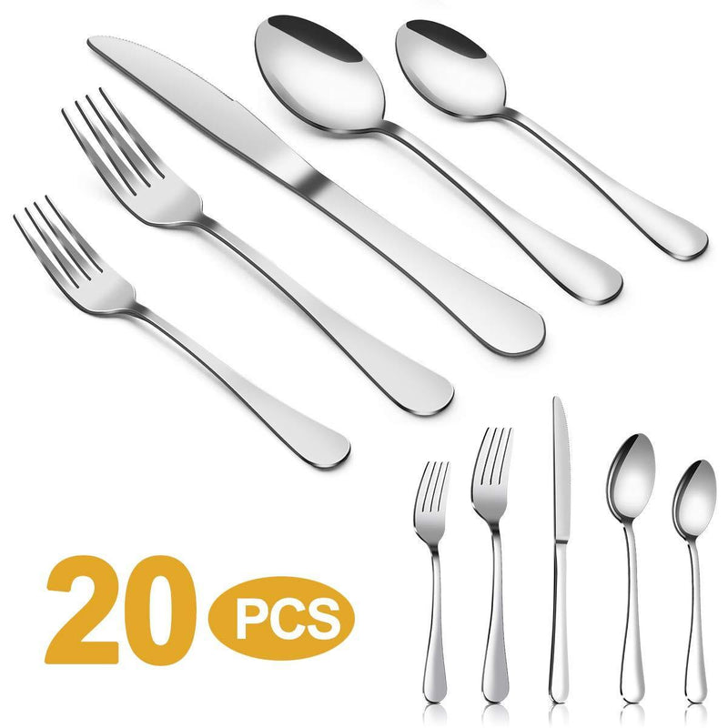Silverware Set,MASSUGAR 20-Piece Silverware Flatware Cutlery Set, Stainless Steel Utensils Service for 4, Include Knife/Fork/Spoon, Mirror Polished (20-Piece)