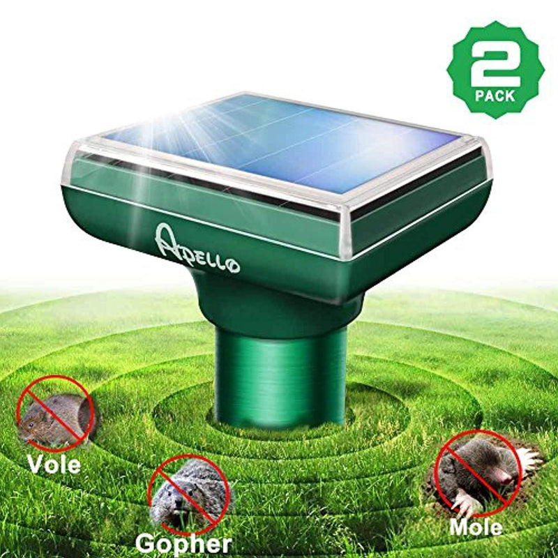 Apello 2 Pack Mole Repellant Solar Mole Repeller Chipmunk Repellent Vole Gopher Repellent Ultrasonic Get Rid of Moles No Killing Like Mole Traps Gopher Trap Mole Killer or Mole Poison
