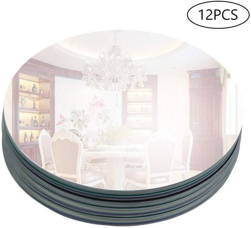 "Murrey Home 12 Pack 12"" Round Mirror Tray/Plate for Wedding, Christmas and Party Décor"