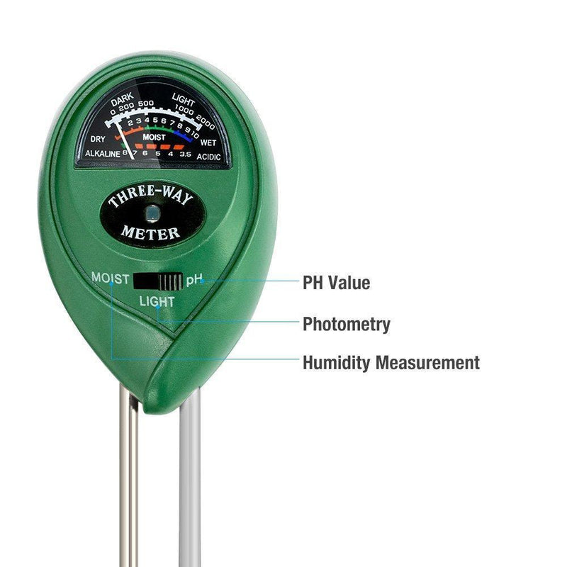 KKmall 3-in-1 Soil Meter with Moisture Light and PH Test Function
