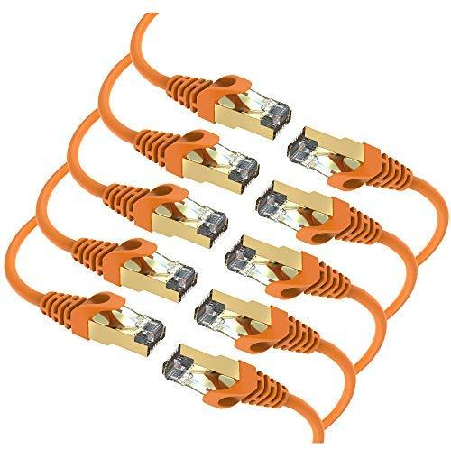 Maximm Cat7 Ethernet Cable, 15 Feet, Grey, 10-Pack - Pure Copper - RJ45 Gold-Plated Snagless Connectors 600 MHz, 10 Gbps. for Fast Network & Computer Networking + Cable Clips and Ties