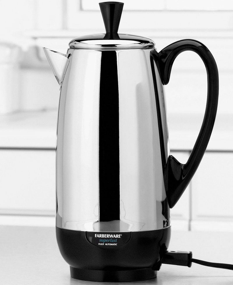 4-12 Cup Faberware Superfast STAINLESS Steel Percolator Fully Automatic - CHROME