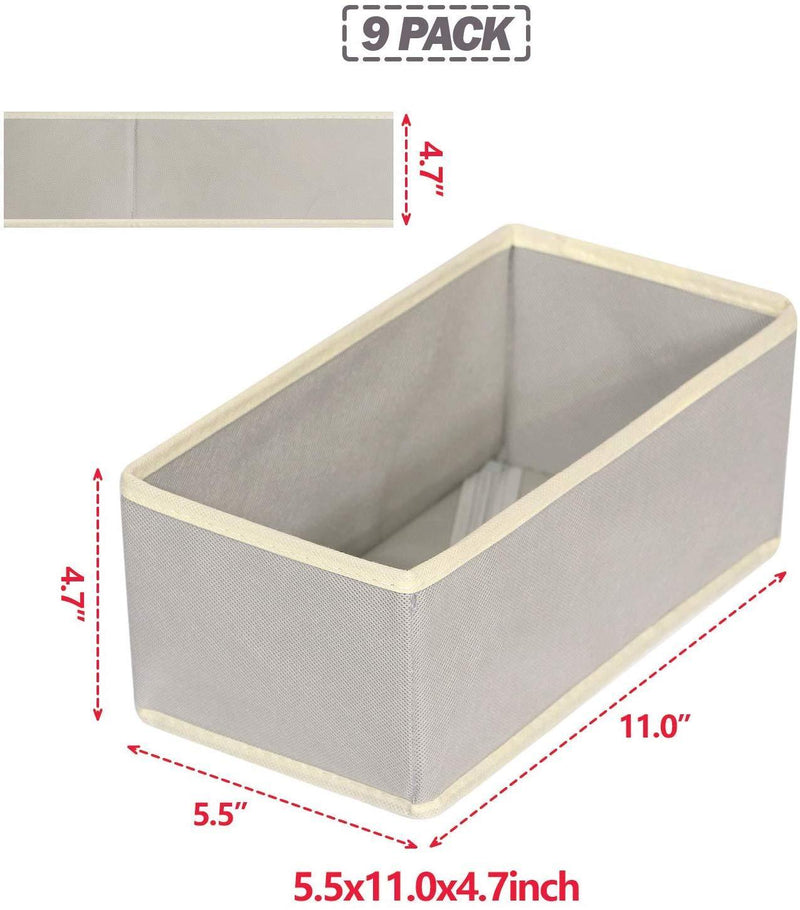 DIOMMELL Foldable Cloth Storage Box Closet Dresser Drawer Organizer Fabric Baskets Bins Containers Divider with Drawers for Clothes Underwear Bras Socks Lingerie Clothing,Set of 9 Grey 090