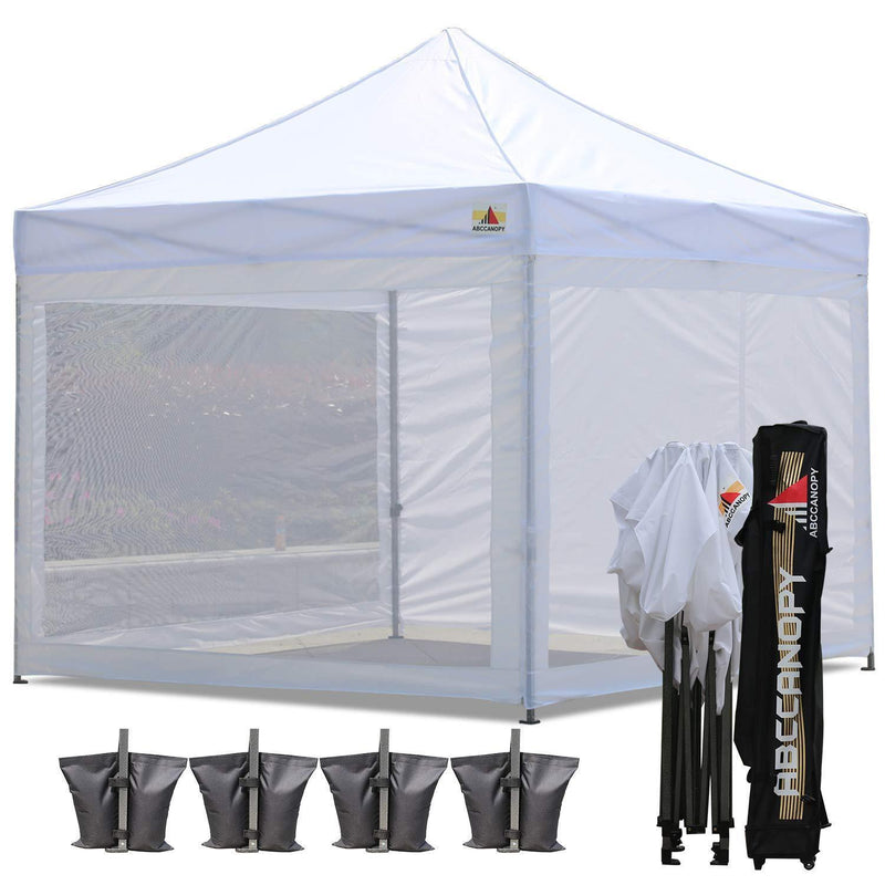 ABCCANOPY 10x10 Pop-up Canopy Tent Commercial Tents with White Mesh Walls Camping Screen & Mesh House Bonus Rolly Carry Bag and 4X Weight Bag (1 White)