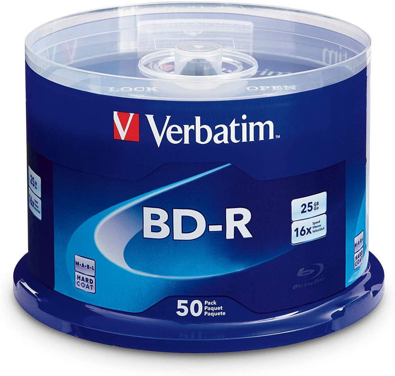 Verbatim BD-R 25GB 16X Blu-ray Recordable Media Disc - 50 Pack Spindle