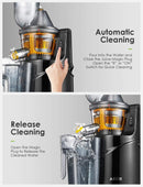 "Aicok Masticating Juicer, Juicer Machine with 3"" Whole Juicer Chute for Fruits and Vegetables, Slow Juicer Extractor Easy to Clean with Pre-Clean Function and Brush, Quiet Motor, BPA-FREE, Black"