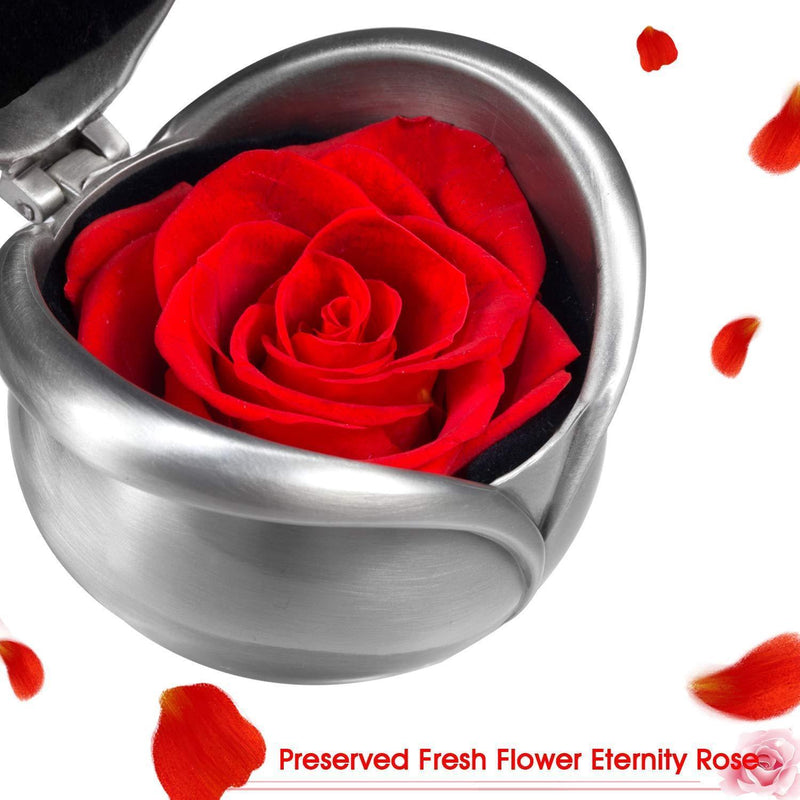 Joypea Valentine's Day Rose,Preserved Fresh Flower Rose Red,Real Rose Flower With Gift Box, Red Flowers Best Gift For Valentine's Day Christmas Anniversary