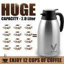Coffee Carafe (68 Oz) + Free Brush - Keep water hot up to 12 Hours, stainless steel thermos carafes, double walled Large Insulated Vacuum flask, Beverage Dispenser By Vondior