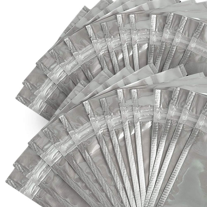 "100 Pcs Resealable Zip Lock Mylar Bag, Stand Up Pouch Bags, Heavy Duty Clear Silver Front with Aluminum Foil Back, Smell Proof Pouches for Food Storage, 3.5"" x 5.9"" Inch"