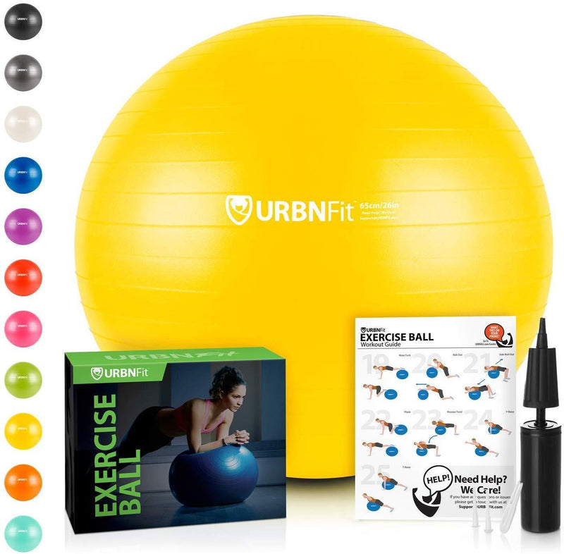 URBNFit Exercise Ball (Multiple Sizes) for Fitness, Stability, Balance & Yoga - Workout Guide & Quick Pump Included - Anti Burst Professional Quality Design