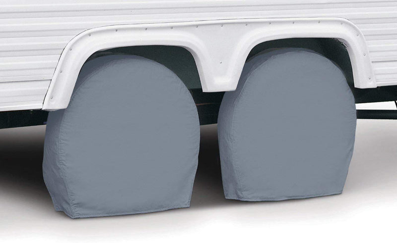 "Classic Accessories RV & Trailer Wheel Covers 33""-36"" Diameter, 9"" Wide, White, Set of Two"