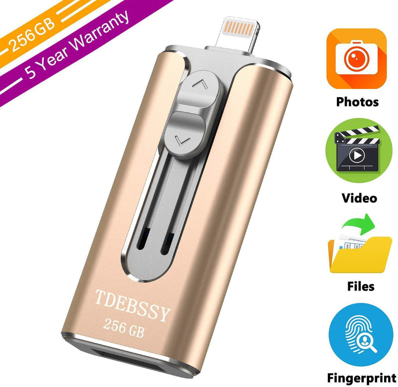 TDEBSSY USB 3.0 Flash Drive for iPhone iPad 256GB Photo Stick for iPhone 11 Pro XS X XR 8 7 6 Plus Password Touch ID Protected External Storage Drive for iPhone iPad PC Android Memory Stick 256 GB