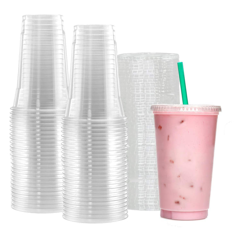 Netko Plastic Cups With Lids 50 Sets Of 20 OZ cups with lids