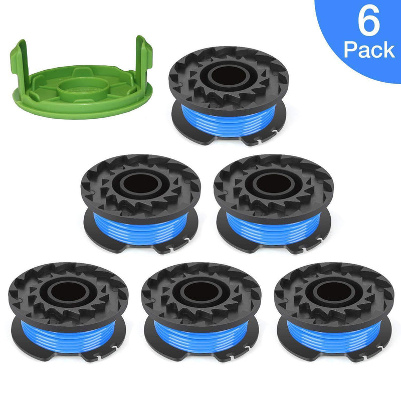 "Thten 0.065"" Single Line Auto-Feed Replacement Trimmer Spool 29092 for Greenworks Weed Eater String 24V and 40V Trimmer (6 Packs Plus 1 Cap) by Faracent"