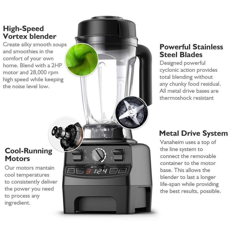 Vanaheim GB64 Professional Blender 1450W,64Oz Container,Variable Speed,Built-in Timer,Self Cleaning,Powerful Blade for Easily Crushing Ice, Smoothies,Frozen Dessert, Black
