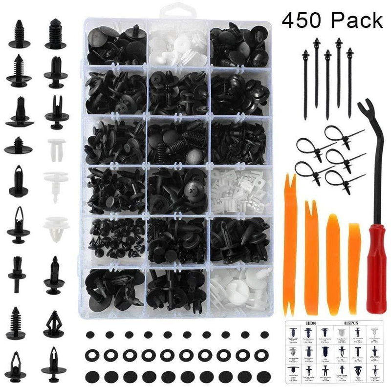 ANTS PART 415 PCS Car Retainer Clips & Plastic Fasteners Kit-18 Most Popular Sizes Auto Push Pin Rivets Set -Door Trim Panel Clips for GM Ford Toyota Honda Chrysler
