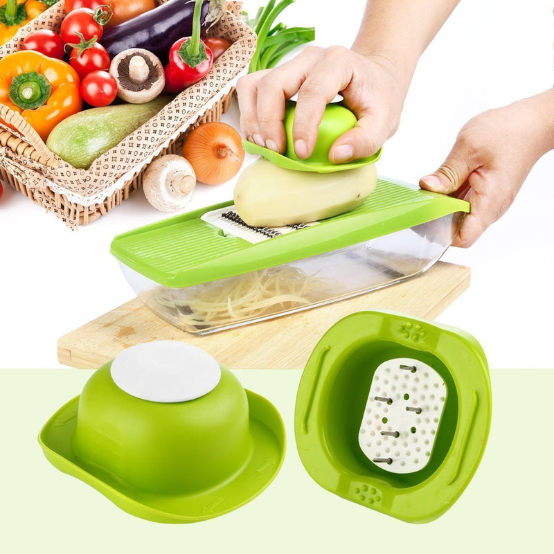 Mandoline Slicer - Premium Vegetable Potato Slicer Grater - Cutter for Tomato, Onion, Cucumber, Zucchini Pasta, Cheese - Julienne Veggie Peeler Chopper - Food Storage, 5 Blades & Hand Protector by Braviloni