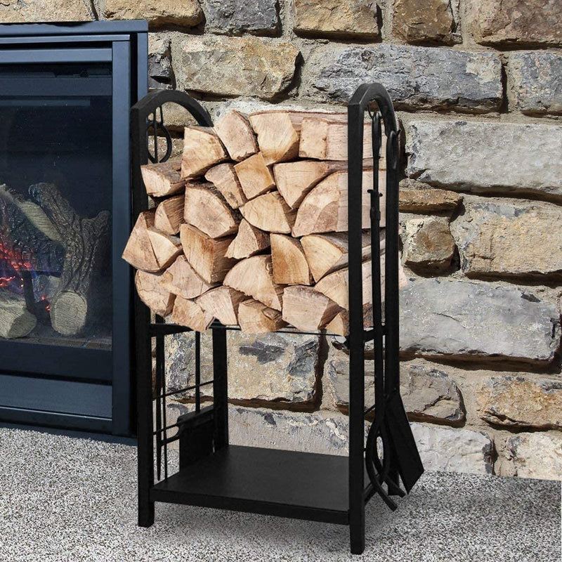Pleasant Hearth Trendi Fireplace Log Rack 16 x 29.2 x 12inch with 4 Fireplace Tools Wrought Iron Firewood Holders Indoor Wood Stove Outdoor Fireplace Heavy Duty Wood Stacking Wood Storage Kit for Fireplace Tool