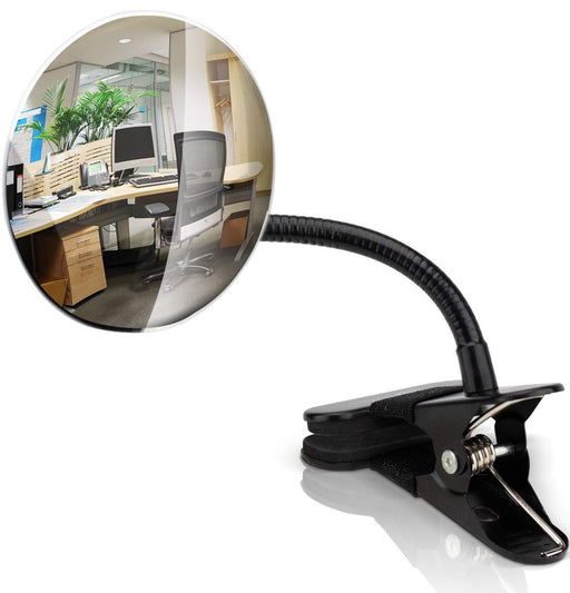 "Kiloxa Flexible 4"" Clip On Mirror for Computer Monitor - Convex Desk Mirror to See People Behind You - Perfect in Any Office Cubicle Environment"