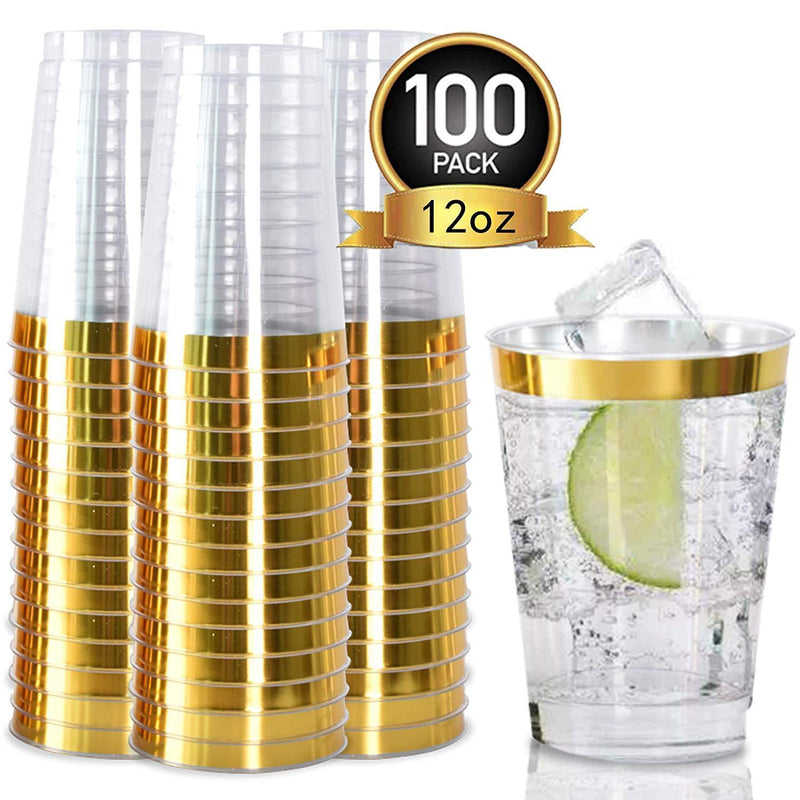 100pack Gold Plastic Cups- 12oz Clear Plastic Cups with Gold Rim-Wedding/Party Disposable Cups-Heavyweight Plastic Tumblers-OUGOLD