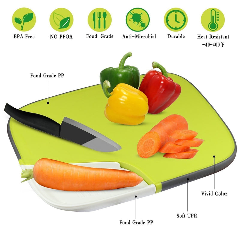 Elegant House Plastic Cutting Board with Juice Groove, 15x11x0.9 Inch Reversible Non-Slip Kitchen Chopping Board Mat for Food Prep, Dishwasher Safe, Anti-Microbial
