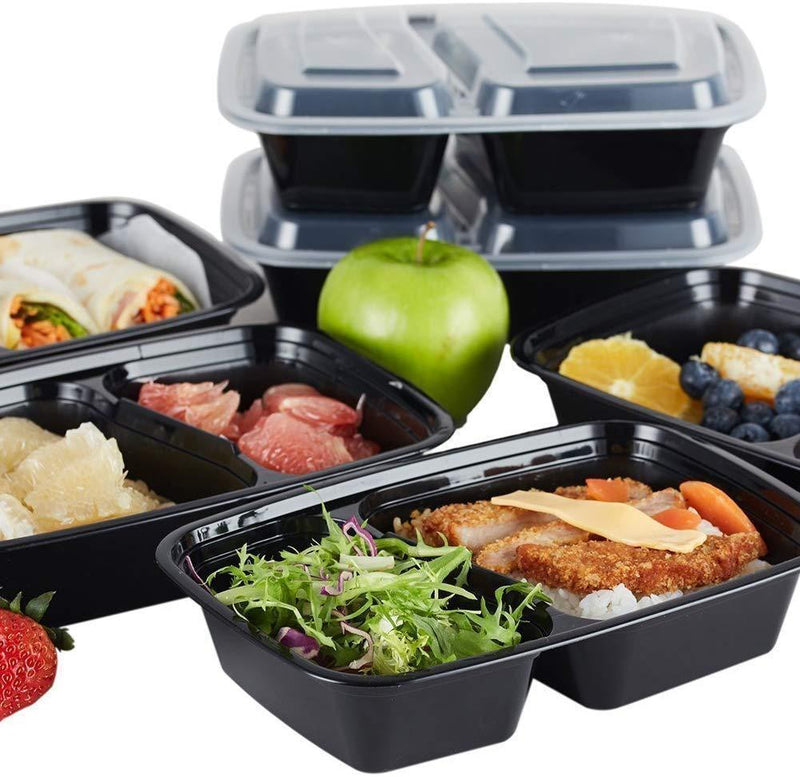 Nutribox [20 pack] 30 oz - meal prep containers 2 compartment lunch box with lids - BPA Free Reusable Lunch bento Box