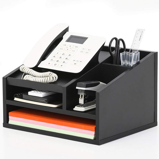 FITUEYES Wood Office Suppies Desk Organizer 5 Compartments with Letter Tray Phone Stand Pen Pencil Holder