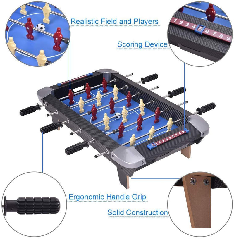 "Giantex 28"" Foosball Table Set Soccer Competition Tabletop for Game Room Leisure Sports 18 Players Durable Steel Rods Easy Assembly Foosball Tables with 2 Footballs"