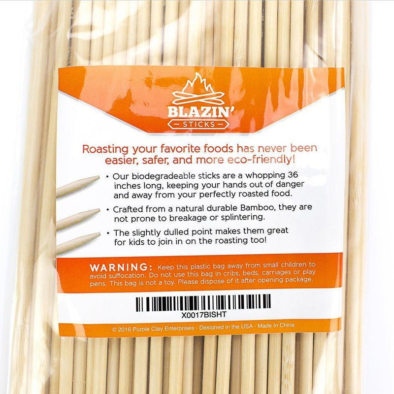 Blazin Sticks S'more Kit, Marshmallow Roasting Sticks, Perfect Campfire Accessories To Protect Your Kids While Creating Lasting Memories KID FRIENDLY Bamboo Skewers 3 Foot Long, 110 Sticks Per Pack