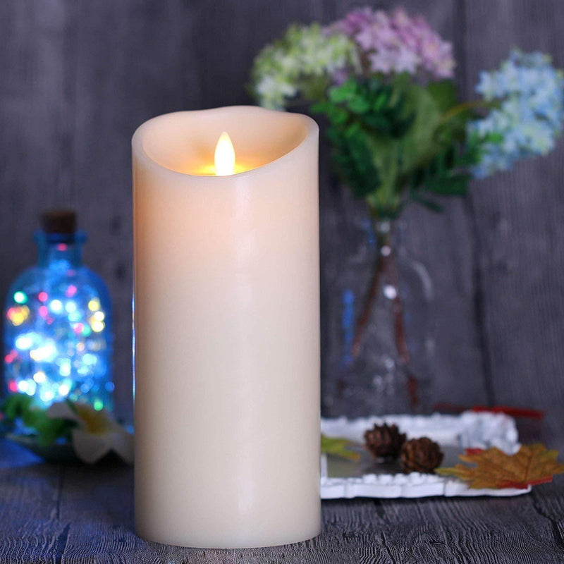 "Remote Include Flameless Candle: Vanilla Scented Moving Flame Candle with Timer (3.5""x9"" Ivory)"
