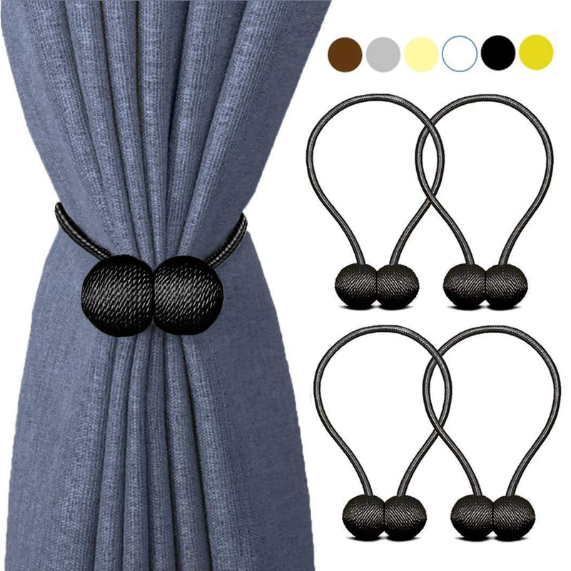 HILELIFE Magnetic Curtain Tiebacks Clips - Window Tie Backs Holders for Home Office Decorative Rope Holdbacks Classic Tiebacks Design, 1 Pair (Grey)