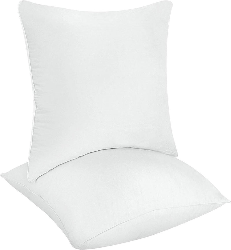 Utopia Bedding Decorative Pillow Insert (Pack of 2, White) - Square 18x18 Sofa and Bed Pillow - Microfiber Cover Indoor White Pillows