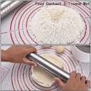 Adjustable Rolling Pin,Stainless Steel Rolling Pin with 4 Removable Adjustable Thickness Rings,17 inch Rolling Pin with Silicone Baking Mat for Dough Pizza Pastry Pie Pasta and Cookies