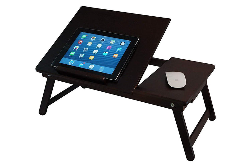 Portable Bamboo Walnut laptop Lap Desk with Drawer, Foldable Legs