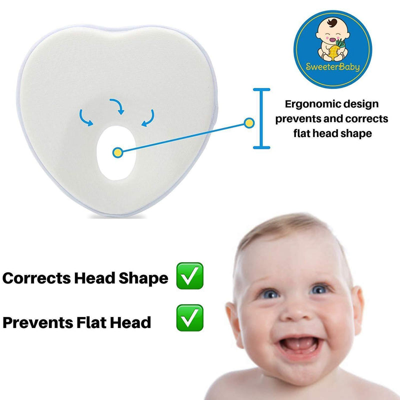 Baby Pillow for Flat Head Syndrome Prevention, Prevent Plagiocephaly for Infants & Newborn Registry, Head Shaping Pillow by Sweeterbaby