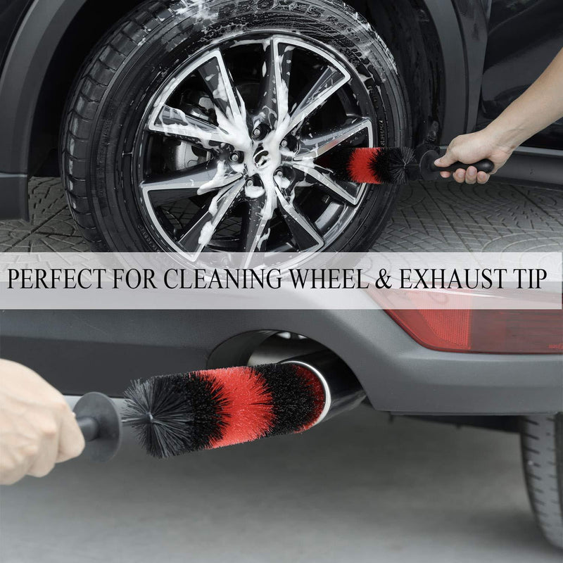 TAKAVU Master Wheel Brush, Easy Reach Wheel and Rim Detailing Brush 18'' Long Soft Bristle, Car Wheel Brush, Rim Tire Detail Brush,Multipurpose use for Wheels,Rims,Exhaust Tips,Motorcycles