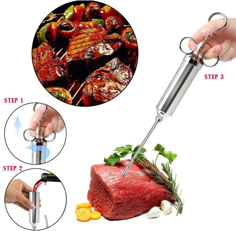 Cenow Meat Injector Kit Marinade Injector -Making The Juiciest BBQ& Turkey 3 Professional Marinade Needles+ 2 Cleaning Brushes