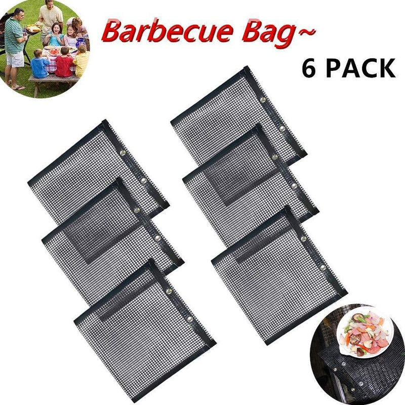 Haudrey BBQ Grill Mesh Bag Non-Stick BBQ Baked Bag Grilling Baking Reusable and Easy to Clean Non-Stick Mesh Grilling Bag for Outdoor Picnic Tool (4 Pack)