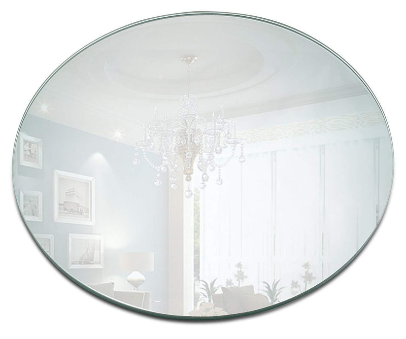 Light In The Dark 10 Inch Round Mirror Candle Plate Set - Box of 12 Mirror Trays - 10 inch Diameter, 1.5 mm Thick Rounded Edge - Round Mirror for Centerpieces, Wall Decor, Crafts