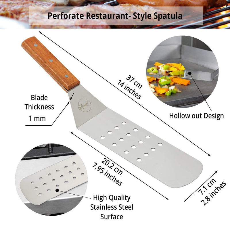 Hibachi Grill BBQ Accessories Griddle Spatula Flat Top Grill Tool Kit Metal Stainless Steel Spatula Set Hamburger Chopper Flipper Kitchen Utensil Set BBQ Grill Accessories Scraper Camping Accessories