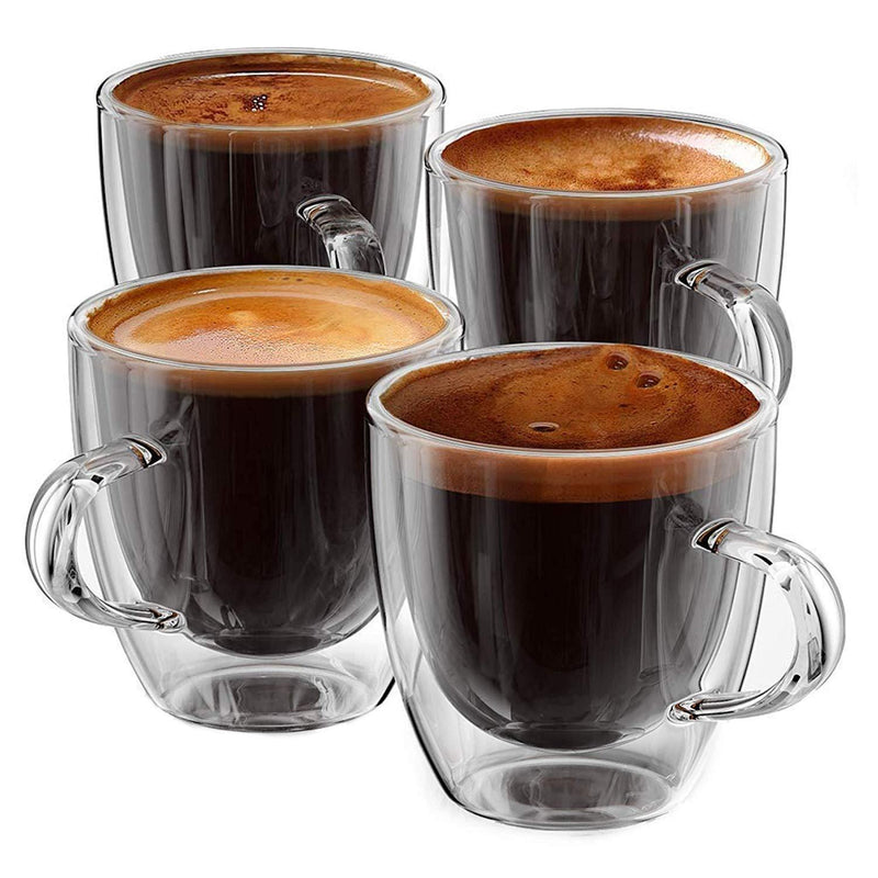 Stone & Mill Double Wall Insulated Glass Espresso Mugs, AM-04 Coffee Glasses with Handle Gift Box Set of 4, 5 Ounce