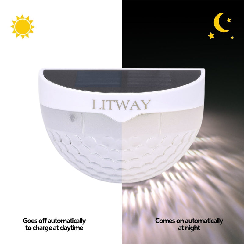 LITWAY Solar Lights Outdoor Solar Fence Lights Wall Mount Wireless Decorative Deck Lighting White, 4 Pack