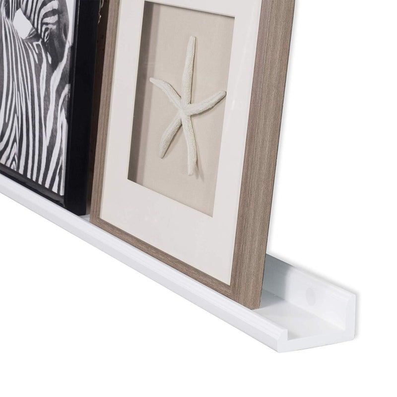 Wallniture Boston Contemporary Floating Wall Shelf - Picture Ledge for Frames Book Display White 46 Inch Set of 2