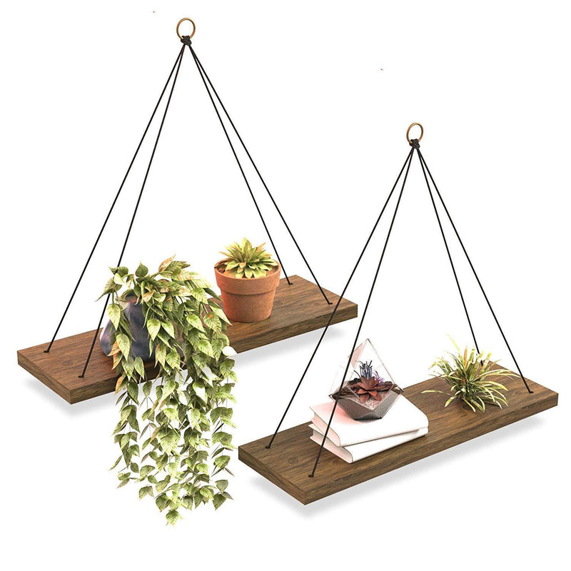 Boho Wall Hanging Shelf - Set of 2 Wood Hanging Shelves for Wall - Farmhouse Rope Shelves for Bedroom Living Room Bathroom - Rustic Wood Shelves - Hanging Wall Shelf - Triangle Floating Wood Shelves